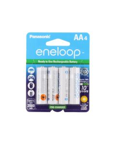 Panasonic Eneloop AA 2000mAh 1.2V Low Self Discharge NiMH Rechargeable Batteries - 4 Pack Retail Card