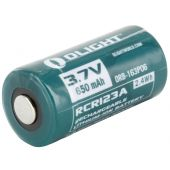 Olight 16340/RCR123A 650mAh Lithium Ion (Li-ion) Protected Button Top Battery - Retail Card