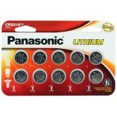 Panasonic CR2016 Coin Cell Battery - 10 Piece Wide Size Carded Packaging