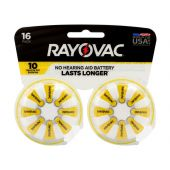 Rayovac 10-16 Size 10 75mAh 1.45V Zinc Air Hearing Aid Batteries - 16 Piece Retail Card