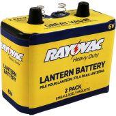 Rayovac Carbon Zinc 6V Lantern Battery - Spring Terminal - 8601mAh - 2 Piece Box