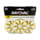 Rayovac 10 Zinc Air Hearing Aid Batteries - 75mAh  - 24 Piece Blister Pack