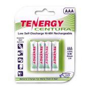 Tenergy Centura LSD 10406 AAA 800mAh 1.2V NiMH Button Top Batteries - 4 Pack Retail Card