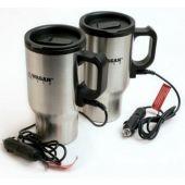 Wagan 2227-1 12V Ceramic Heated Travel Mugs - Pair - (Silver) in Color Box